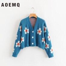AOEMQ, модные зимние свитера, милый светильник, зеленый символ жизни, весенние свитера с цветочным принтом, женские топы, рождественские свитера
