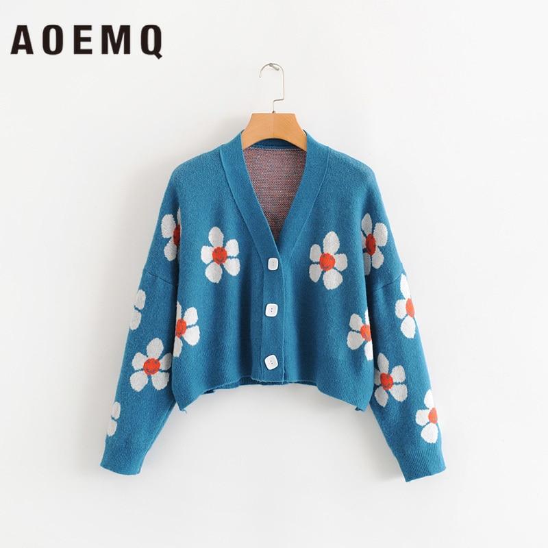 AOEMQ Women Cardigan Female Sweaters Cute Light Green Symbol Life Vintage Sweater Spring Sweaters With Flower Print Women Tops