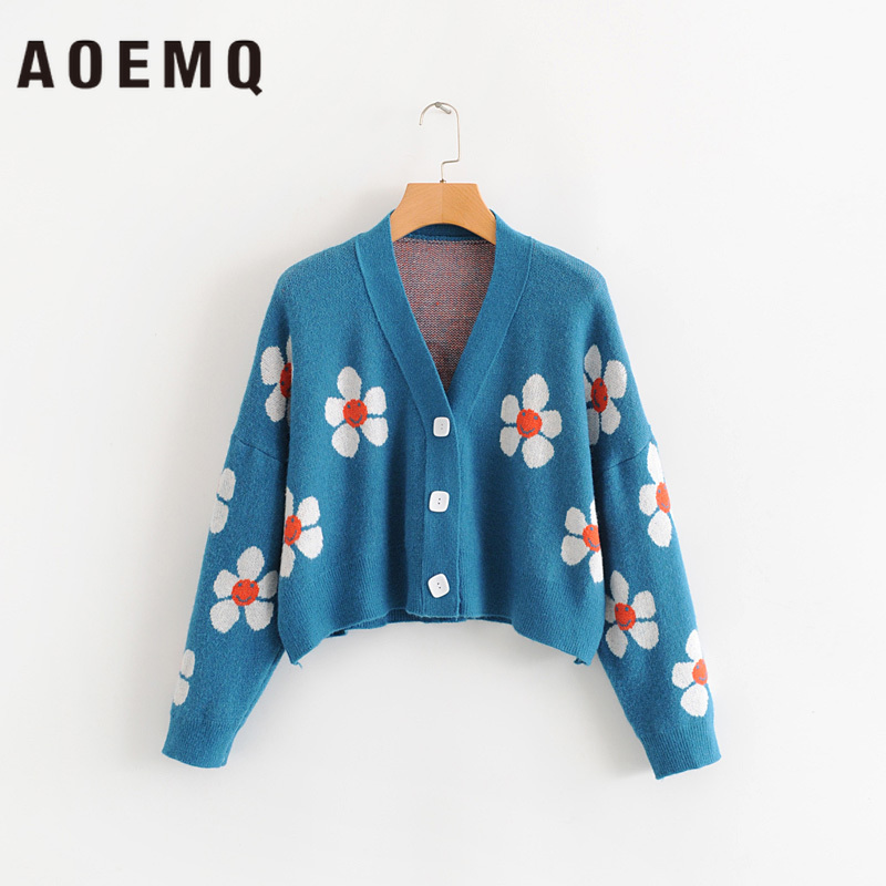 AOEMQ Women cardigan Female Sweaters Cute Light Green Symbol Life Vintage Sweater Spring Sweaters with Flower Print Women Tops