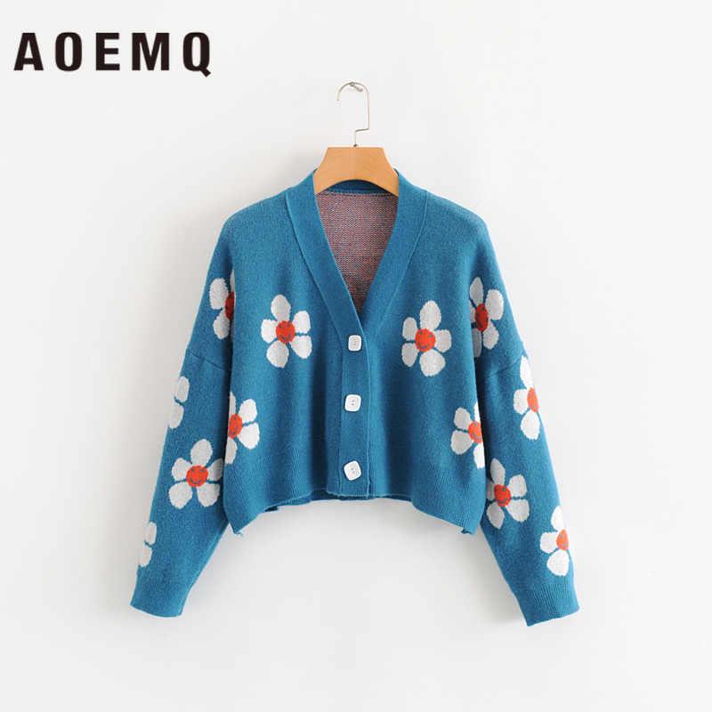 AOEMQ 여성 카디 건 여성 스웨터 귀여운 빛 녹색 기호 생활 빈티지 스웨터 봄 스웨터와 꽃 인쇄 여성 탑스