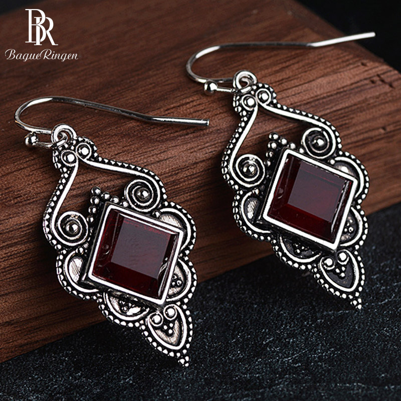 Bague Ringen Vintage Thai Silver 925 Jewelry Gemstone Earrings For Women Square Ruby Auspicious Clouds Party Accessories GIFT