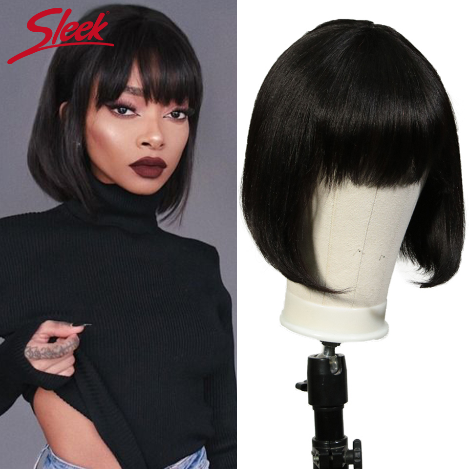 Sleek Short Cut Bob Wig Mix Color Straight Wig With Bangs Brazilian Remy Human Hair Wigs For Black Women Brown Ombre Red Blue