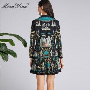 Image 5 - MoaaYina แฟชั่นฤดูใบไม้ผลิผู้หญิงฤดูใบไม้ร่วงแขนยาวชุดเสื้อ + กระโปรงจีบ VINTAGE พิมพ์สีดำ Elegant 2 ชิ้นชุด