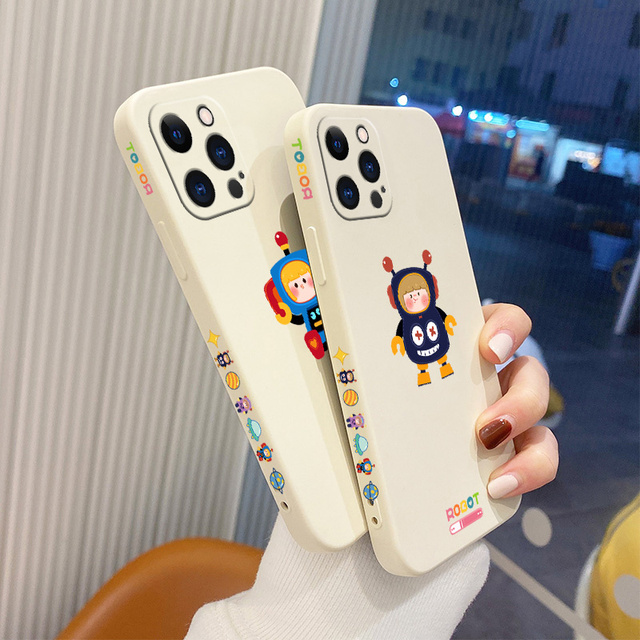 Soft Cartoon Pattern Liquid Silicone Case For iPhone 12 Pro Max 11 X XS  XR XSMAX SE2020 8 8Plus 7 7Plus 6 6S Plus 5 5S 3