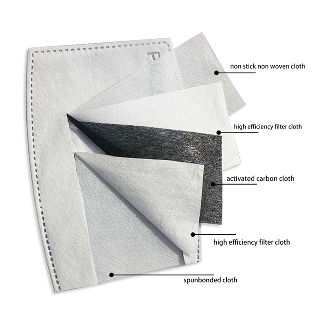 100Pcs/Set PM2.5 Anti Haze Mouth Mask Replaceable Filter-slice 5 Layers Non-woven Child Kids Activated Carbon Filter 1