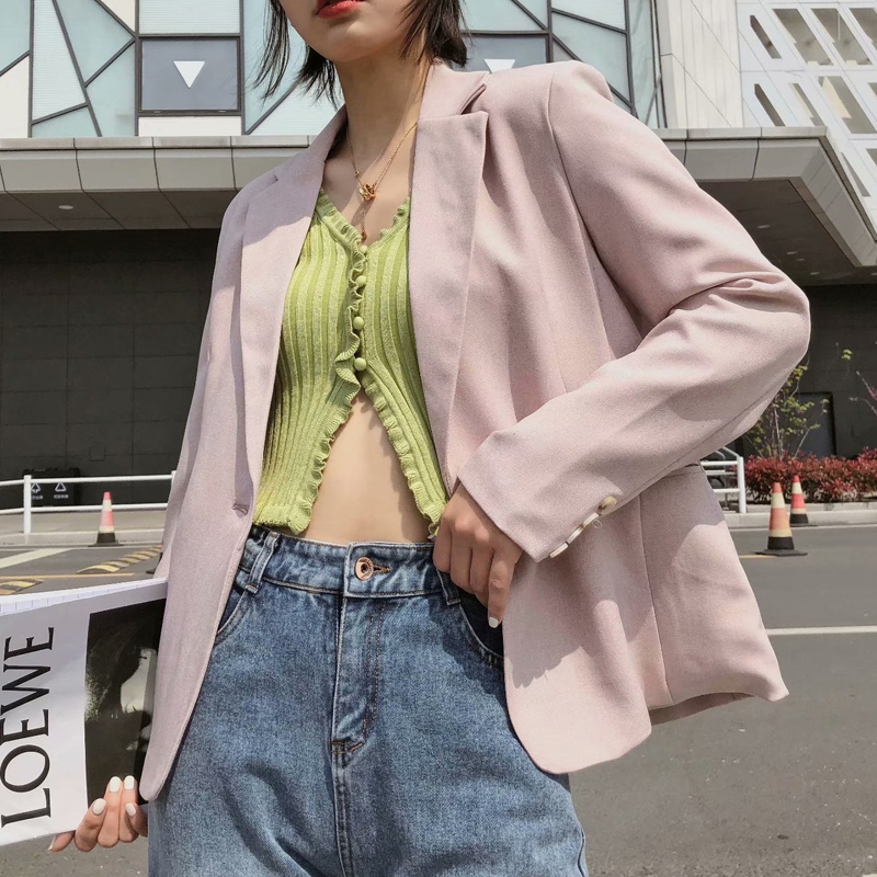 Spring Autumn Women Pink Vintage Blazer Jacket Solid Pockets Suit Coat Female Outwear Elegant Office Wear Tops Blazer Mujer 2020