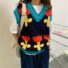 Новые популярные цветные вязаные жилеты с цветочным рисунком