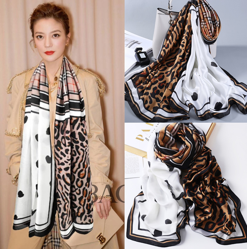 2019 New Style Leopord Pattern Dotted Silk Scarves Women's Spring And Autumn Korean-style Versatile Scarf Warming Scarf Oversize
