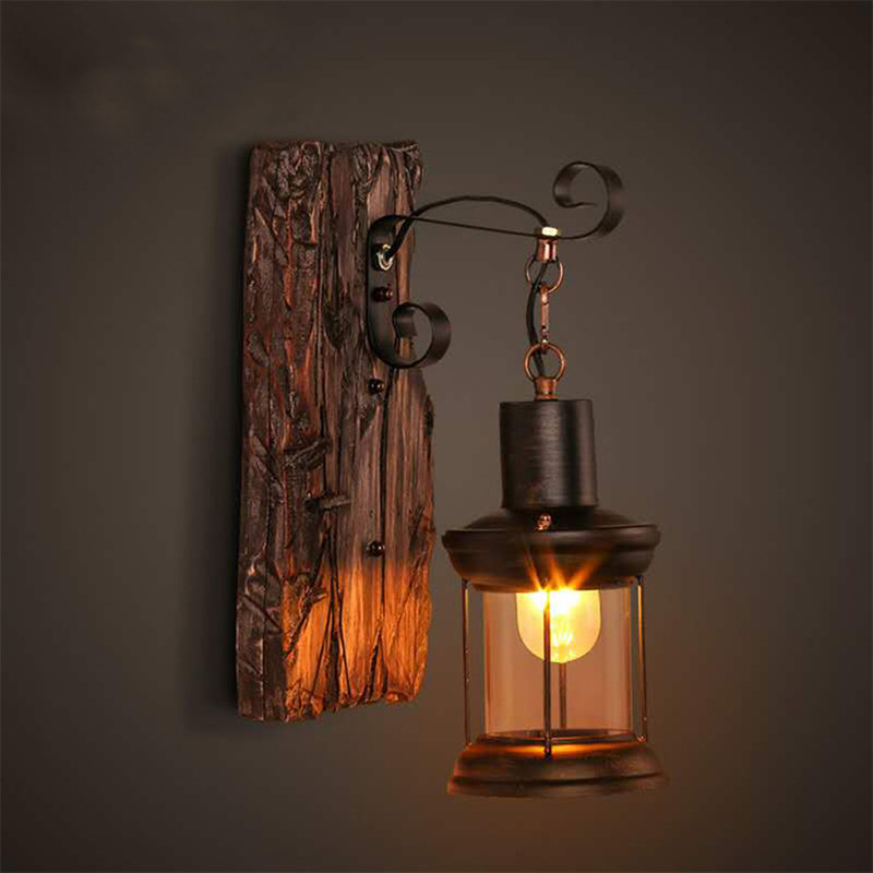 Antique Retro LED Wall Lamp Outdoor Restaurant Cafe Bar Hanging Lights Vintage Industrial Loft Style Wood Glass Mounted Light|LED Indoor Wall Lamps| |  - title=