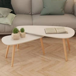 vidaXzL 2 Pieces Set Coffee Table Solid Pinewood Modern Furniture table basse For Living Room Wood Low Folding Table