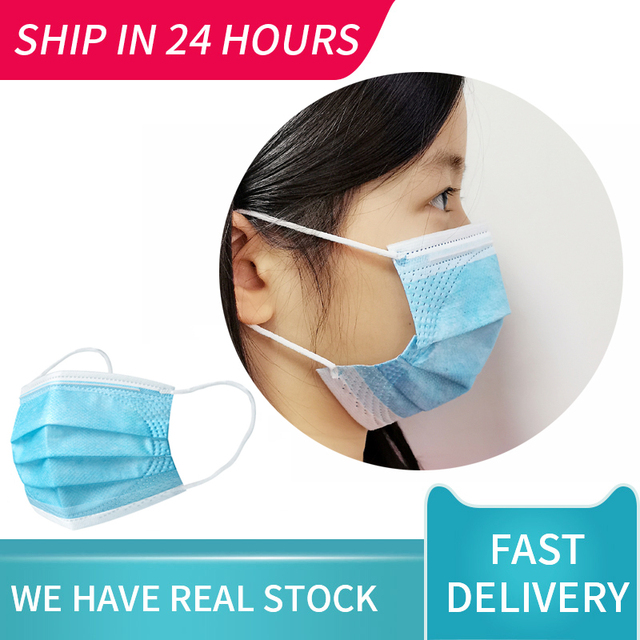 Children Face Masks 3 Layer Elastic Mouth Mask Anti-Flu Kids Disposable Mask Soft Breathable PM2.5 Nonwoven Blue Boys Dropship