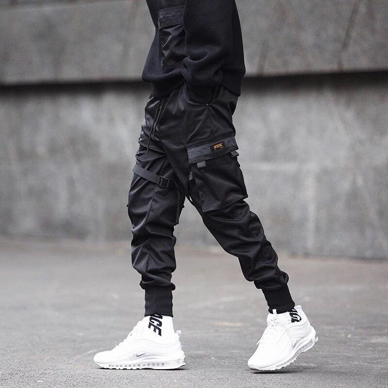 Men Ribbons Patchwork Multi Pockets Hip Hop Cargo Pants Black Tactical Pants Mens Casual Slim Joggers Hiphop Punk Trousers