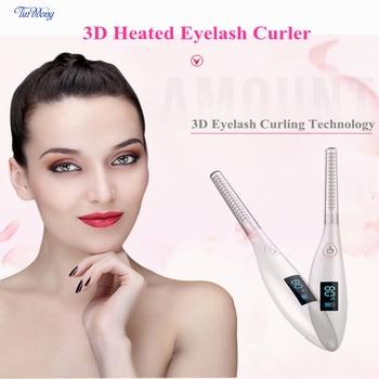 Tinwong ceramic inner core magic wand eyelash curler, Rechargeable Electric LCD 3D Heated Eyelash Curler цена 2017
