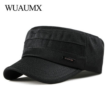 Wuaumx 2020 Military Hats Men Women Spring Summer Flat Top Military Caps Casual Army Cap Classic Camouflage Black Hat Adjustable wuaumx casual military hats spring summer flat top baseball caps men women outdoor army cap mesh breathable casquette militaire