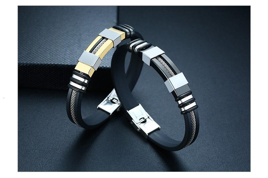 Hb4bc2ddbefe94bb0b0694eaf04f63de4V - Stainless Steel Bracelet Men Wrist Band Black Grooved Rudder Silicone Mesh Link Insert Punk Wristband Stylish Casual Bangle
