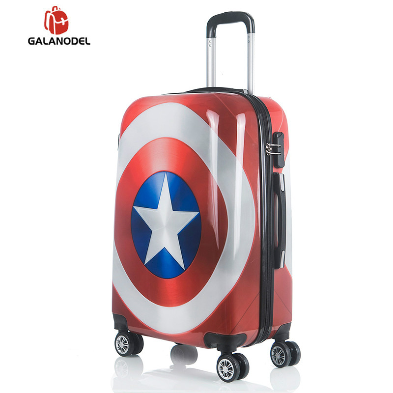 Captain America Rolling Luggage Spinner Women Trolley Men Travel Bag Student Carry On Children Kids Trunk Suitcases Wheels