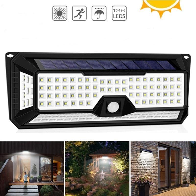 Newest 3 Mode Waterproof 136 LED Solar Garden Light Outdoors PIR Solar Motion Sensor Light Solar Power Pathway Wall Lamp 3.7V