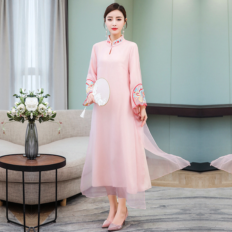 2019 Summer New Style Chinese Style Literature And Art Large Size Dress Chinese-style Ethnic-Style Long Skirts Base Embroided Dr