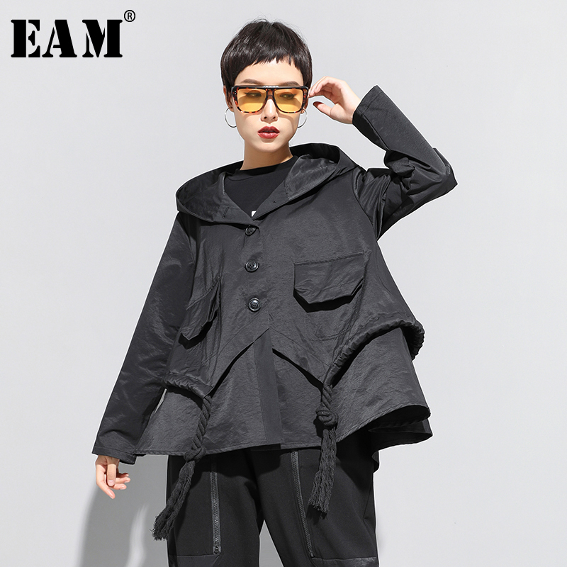 [EAM] Loose Fit Black Asymmetrical Split Big Size Short Jacket New Hooded  Long Sleeve Women Coat Fashion Tide Spring 2020 1N797