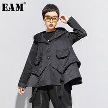 [EAM] Loose Fit Black Asymmetrical Split Big Size Short Jacket New Hooded  Long Sleeve Women Coat Fashion Tide Spring 2021 1N797