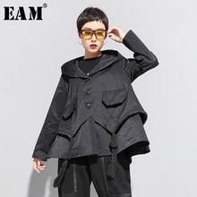 [Eem] gevşek Fit siyah asimetrik bölünmüş büyük boy kısa ceket yeni kapşonlu uzun kollu kadın ceket moda gelgit bahar 2021 1N797
