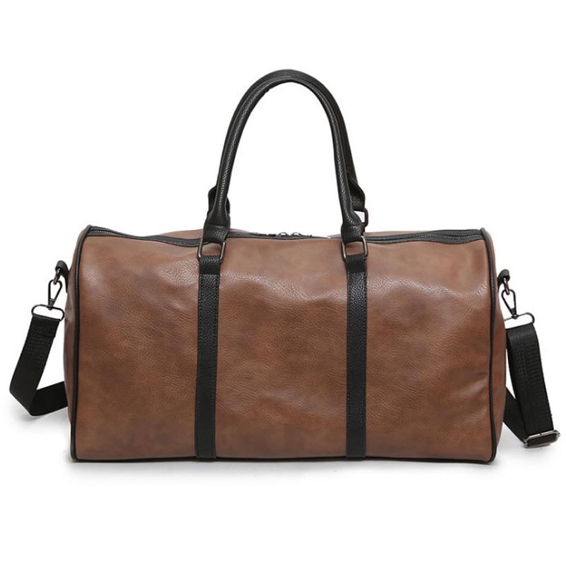 Men Gym Sport Travel Bag Pu Outdoor Travel Bag Women Fitness Crossbody Shoulder Bags Large Capacity Leather Luggage Storage Bag