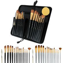 17pcs Watercolor Paint Brushes Set Nylon Hair Oil Acrylic Painting Brush with Sponge Scraper Canvas Bag Art Supplies