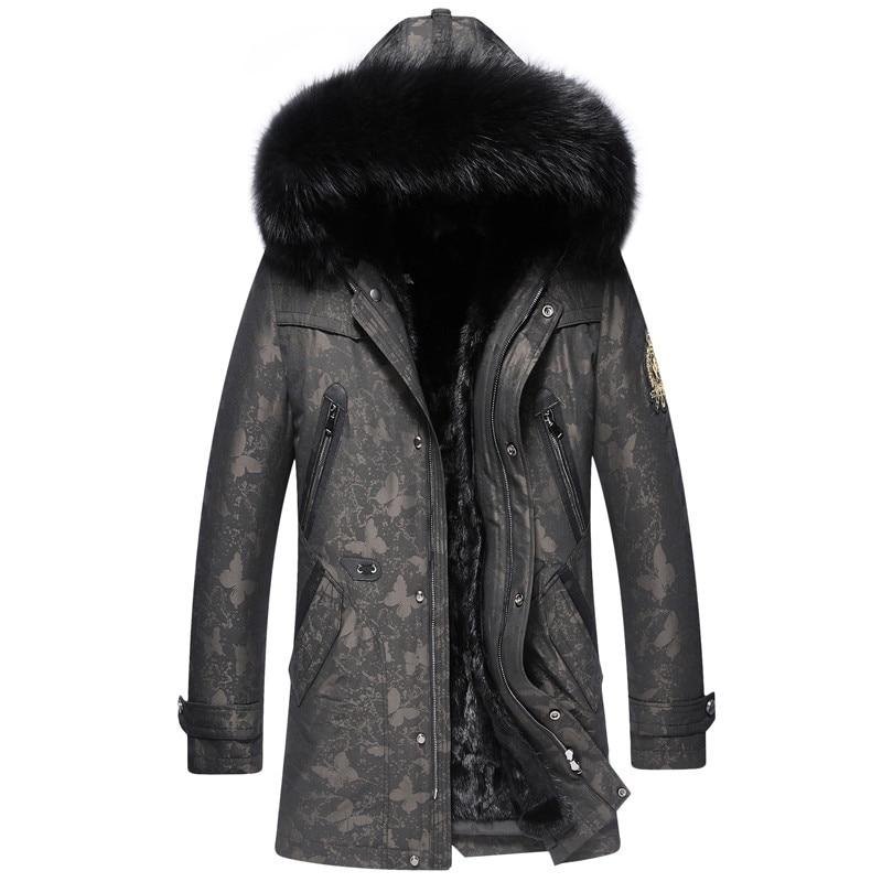 Real Fur Coat Men Mink Fur Liner Parka Winter Jacket Men Real Raccoon Fur Collar Jackets Mink Fur Coat Plus Size SW81 YY865