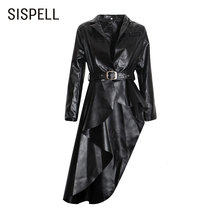 Женское пальто из искусственной кожи sispell асимметричный подол