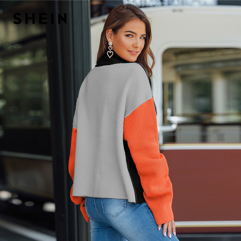 SHEIN Multicolor High Neck Ribbed Knit Casual Sweater Women Tops Autumn Streetwear Long Sleeve Colorblock Ladies Winter Sweaters 2