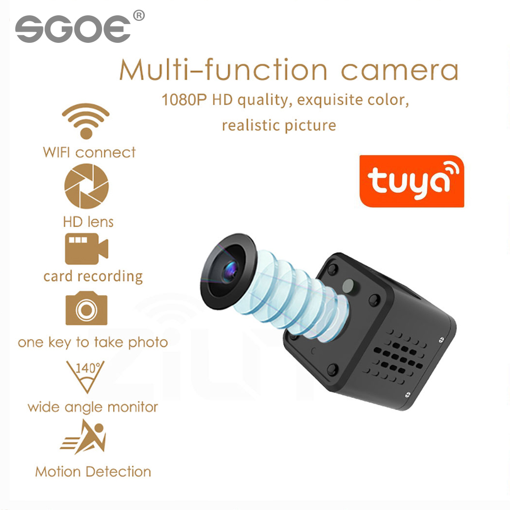 Tuya Mini Wifi Camera 1080P Smart Home Security Baby Monitor 140 Degree Wide Angle Wireless Mini IP Camera Built-in Battery Best
