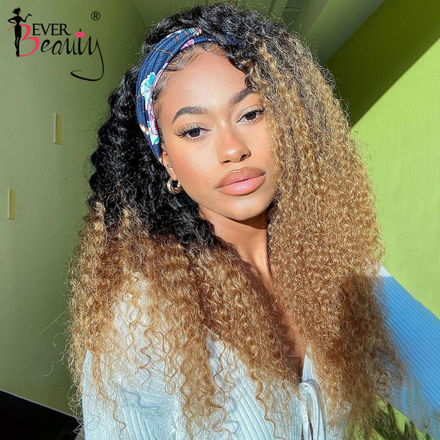 Curly Human Hair Wigs 4/27 Ombre Color Deep Curly Headband Half Wig Human Hair Brazilian Full Machine Made Wig Ever Beauty Remy