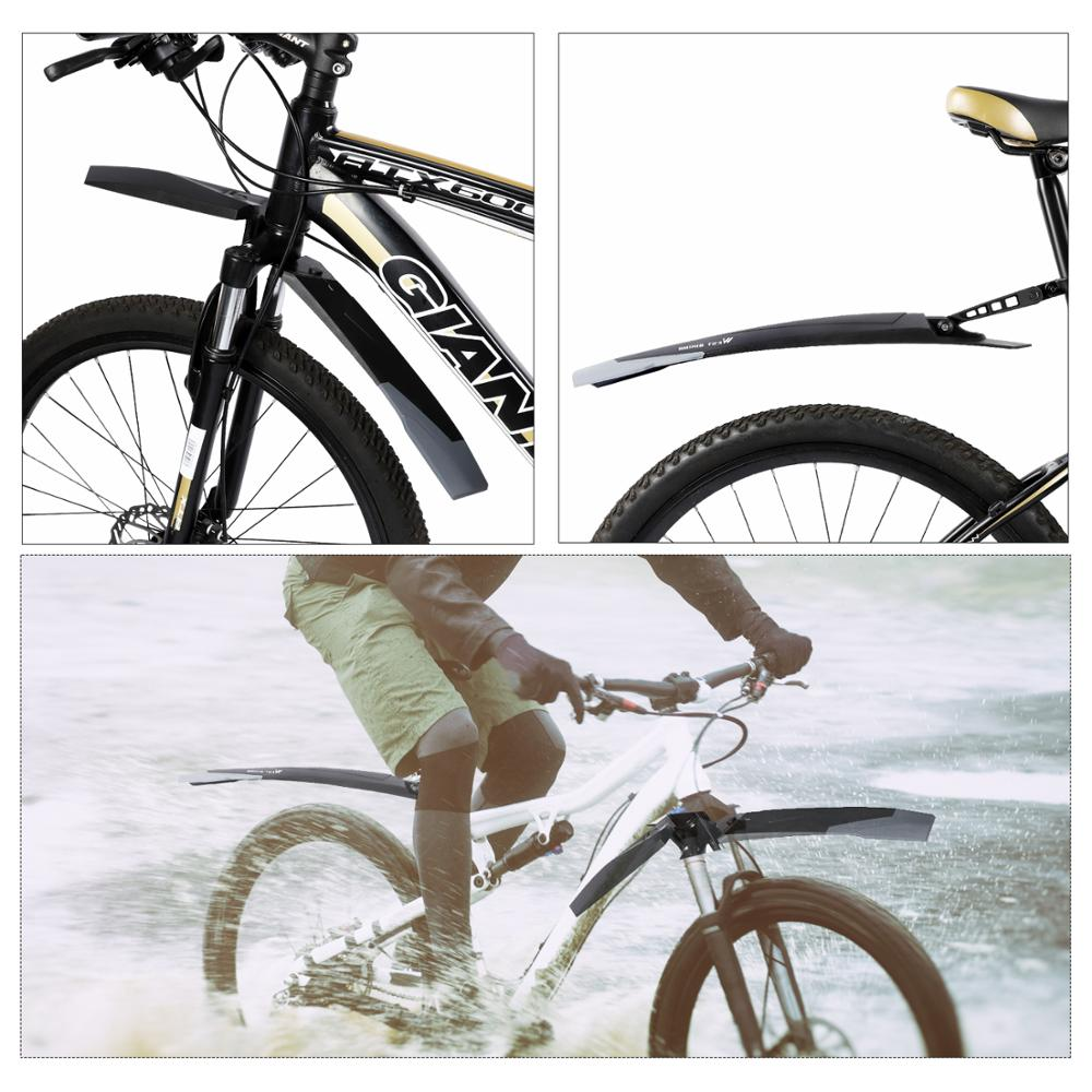2Pcs Mountain Bike MTB Cycling Front Rear Fenders Splash Guard Mudguard Black