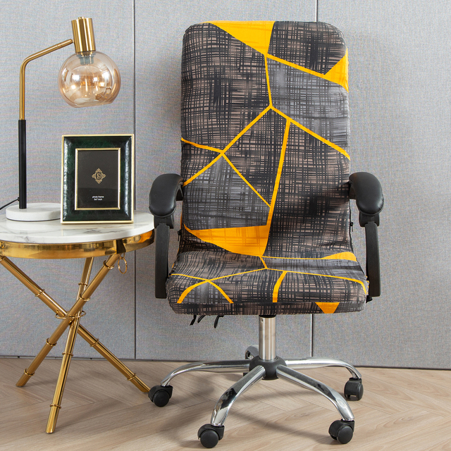 M/L Geometry Printed Elastic Stretch Office Computer Chair Cover Dust-proof Game Chair Slipcover Rotatable Armchair Protector 2