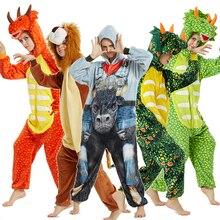 kigurumi dinosaur lion pajamas for men and women adult hooded Unicorn pajamas sleepwear for women home clothes Christmas