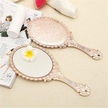 Портативное винтажное косметическое зеркало для макияжа, овальное круглое зеркало для рук, благородное восстановление древних способов, косметическое зеркало, инструмент для красоты