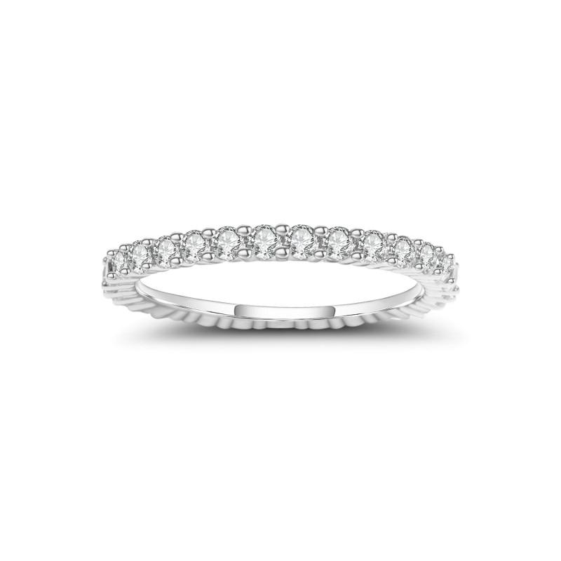 Bague de mariage femme BALLET GEM'S 925 bague de mariage en argent Sterling éternité 0.87Ct 2mm EF couleur Moissanite bague bijoux fins