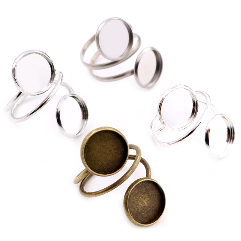 12mm 5pcs Light Silver Plated Bronze Plated Adjustable Ring Settings Blank/Base,Fit 12mm Glass Cabochons,Buttons;Ring Bezels
