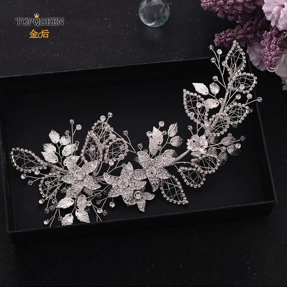 TOPQUEEN Silver Wedding Headpiece Wedding Hair Band Crystal Headpieces For Bride Braided Headbands Bride Crown HP282