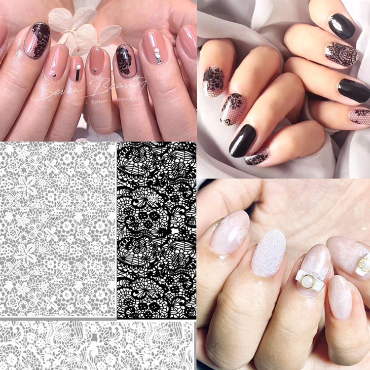 New Style Manicure Lace Flower Stickers Japanese-style-Decorative Pattern Hollow Out Black And White 3D Gum Nail Sticker Decorat
