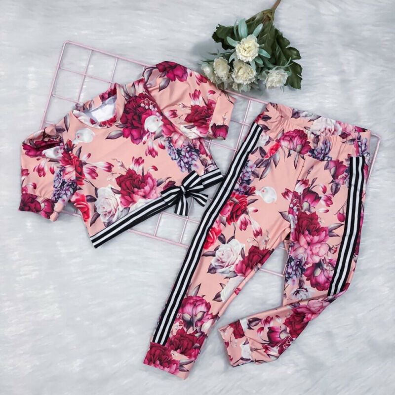 CANIS Kids Baby Girl Flower Clothes Short Sleeve Floral Printed Bowknot Tops+Striped Pants Leggings Outfit