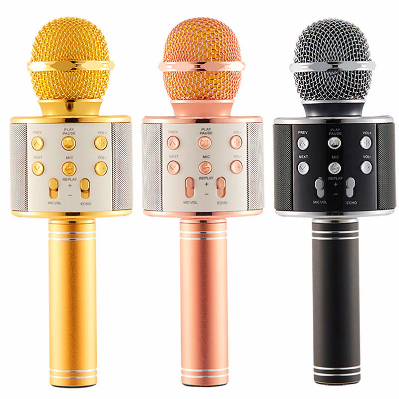 Karaoke Mic Microphone-Speaker Singing-Recorder Music-Player Bluetooth Handheld Portable title=
