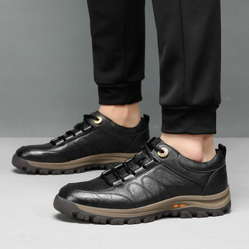 Korean Style Men Genuine Leather Shoes Man Lace Up Oxford Casual Shoes Male Fashion Comfortable Platform Dressing Shoes for Men