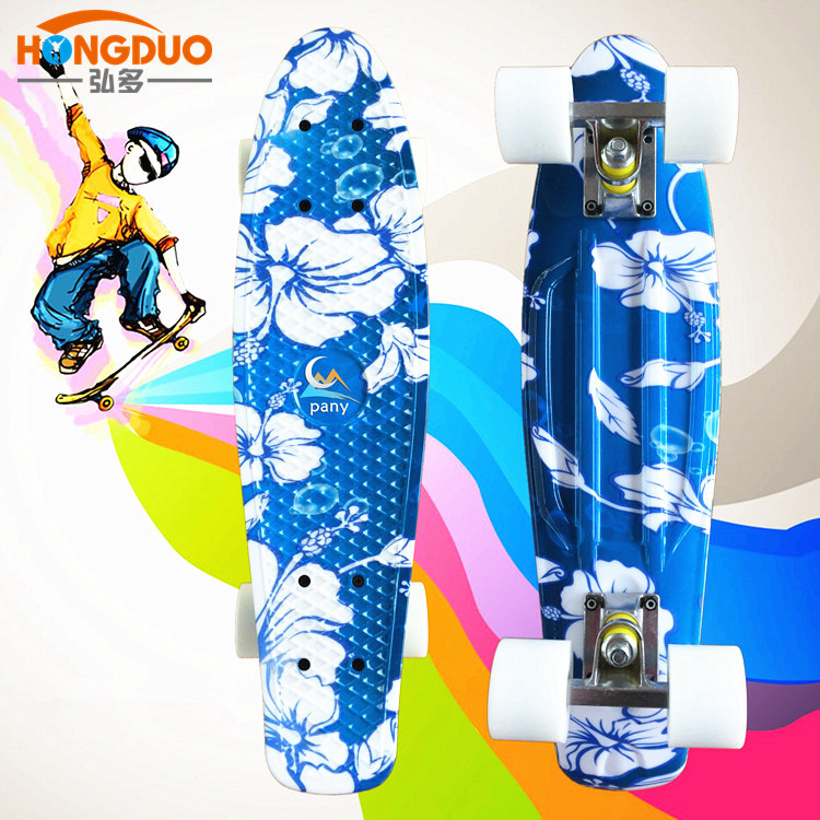 Foreign Trade Single Cut Skateboard Pp Four-wheel Scooter Children 22-Inch Four Wheel Skateboard Wheel Fish Ban Shuan Street