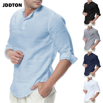 JDDTON New Men's Long Sleeve Shirts Cotton Linen Casual Breathable Comfort Shirt Fashion Style Solid Male Loose Streetwear JE065