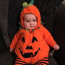 Newborn Baby Boy Girl Bodysuit Halloween Clothes Pumpkin Hooded Bodysuit Costume Outfits Winter Toddler Baby Onesie(China)