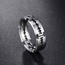 Anel de aço inoxidável do punk do anel dos homens da lâmina de lâmina de barbear simples anéis de casal para presentes de jóias da forma dos homens