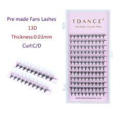 Tdance ресницы для наращивания, предварительно изготовленные вееры, толщина 13D, 0,03 мм, высокое качество для русских объемных ресниц