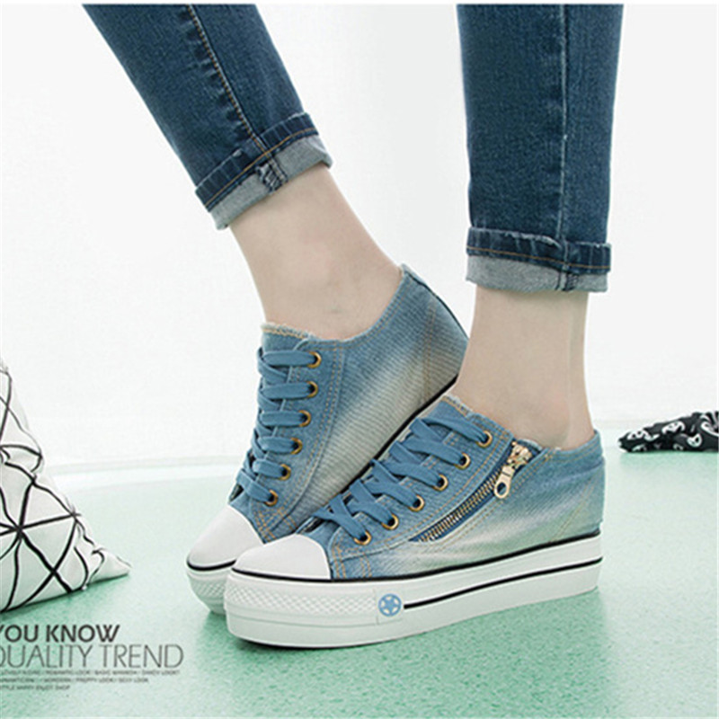 Woman Shoes Big Size Sneaker Wedge Heels 6CM Thick Sneakers Women Denim Shoes Trainers Womens Platform Shoes Sapatilhas Senhora