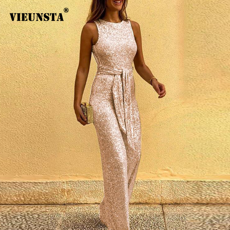 2020 Spring Summer Jumpsuits Women Sexy Sleeveless Elegant Sequin Jumpsuit Backless Glitter Shiny Party Bodysuit Playsuit Belt